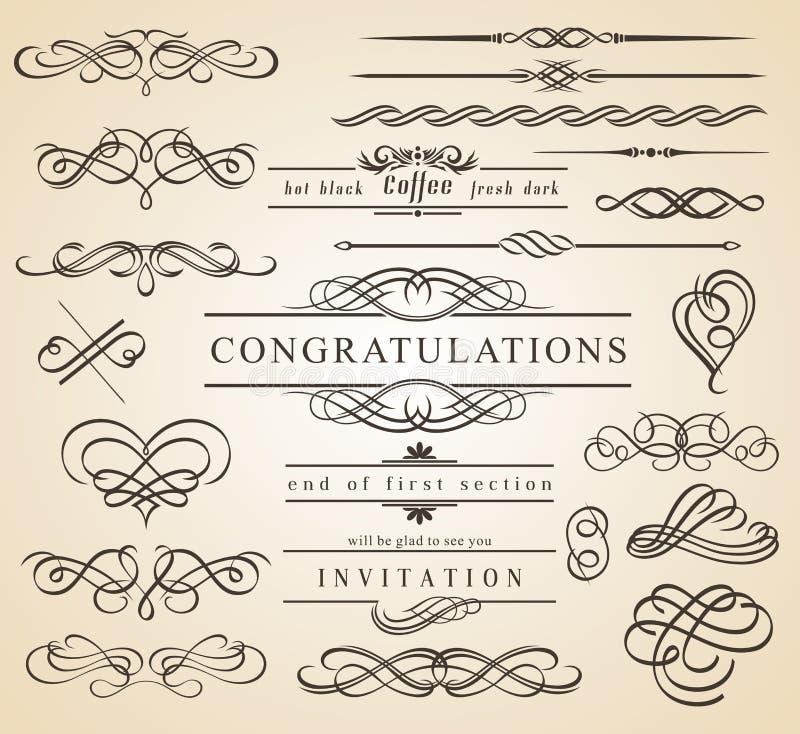 Calligraphic designbeståndsdelar och inramar vektor illustrationer