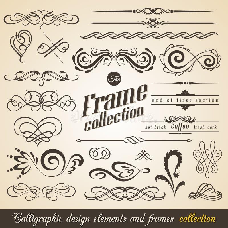 Calligraphic designbeståndsdelar och inramar samlingen för americanocappuccinokaffe dricker bilder för espresso etc vektor royaltyfri illustrationer