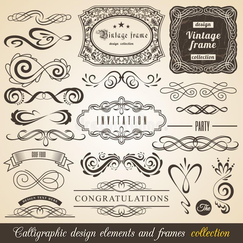 Calligraphic designbeståndsdelar och inramar samlingen för americanocappuccinokaffe dricker bilder för espresso etc vektor stock illustrationer