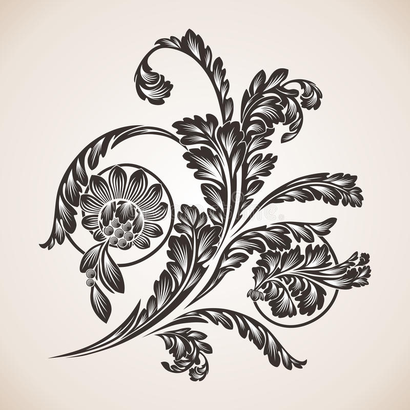 Calligraphic designbeståndsdelar och sidagarnering stock illustrationer