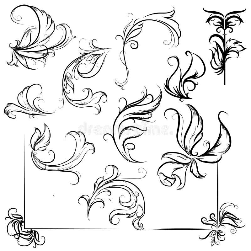 calligraphic designbeståndsdelar och sidagarnering, mönstrar och krullar royaltyfri illustrationer