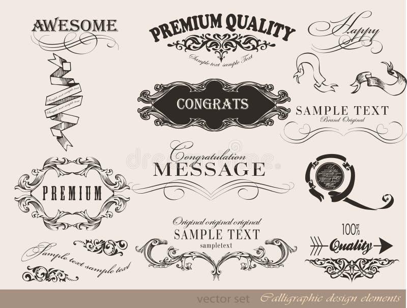 Calligraphic designbeståndsdelar, sidagarnering stock illustrationer