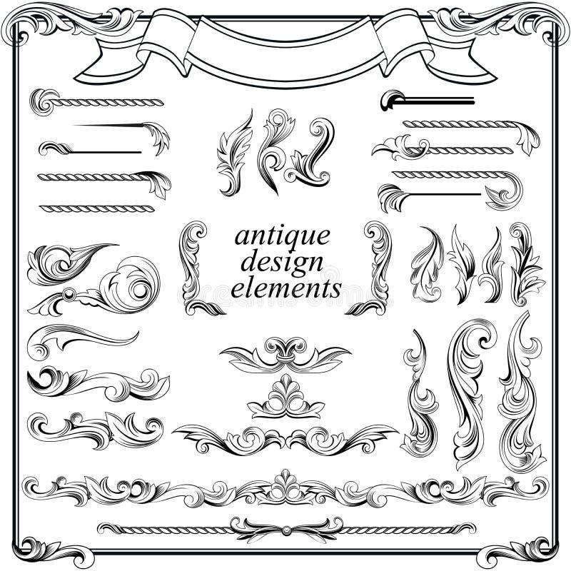 Calligraphic designbeståndsdelar, sidagarnering royaltyfri illustrationer
