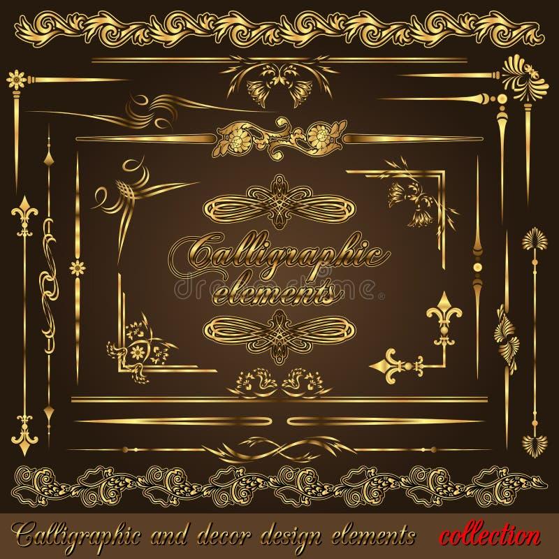 calligraphic designelementguld vol2 stock illustrationer