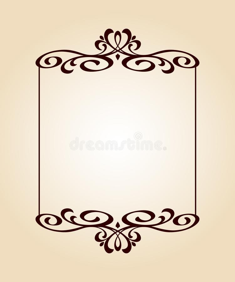 Calligraphic elegant frame.Vector illustration.Brown beige. royalty free illustration