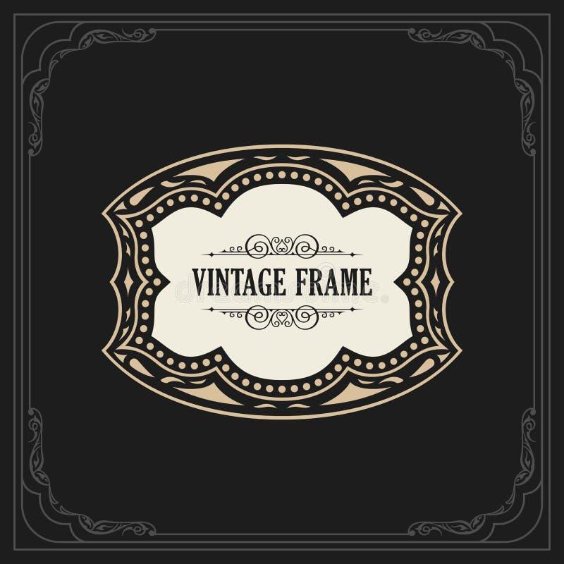 Calligraphic Elegant Ornament Frame Lines. Restaurant menu. Luxury Horizontal vintage ornate greeting card vector illustration