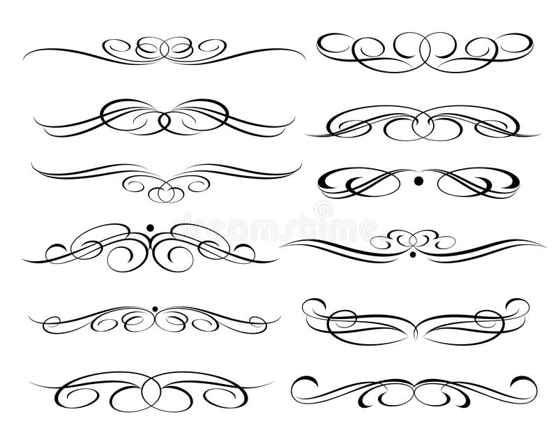 Calligraphic elements design.Decorative elements and calligraphic workpiece set isolated on white. For retro design and decoration stock illustration