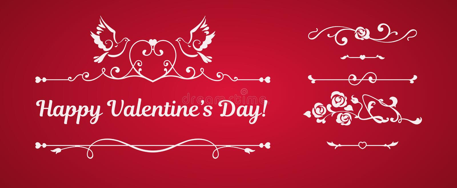 Calligraphic elements, doves, hearts on red background vector illustration