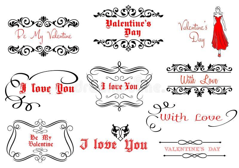 Calligraphic elements for Valentine's Day design stock illustration