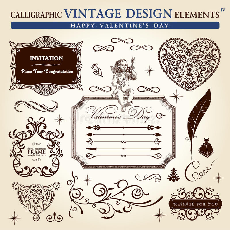 Calligraphic elements vintage ornament set. Happy valentine day vector illustration