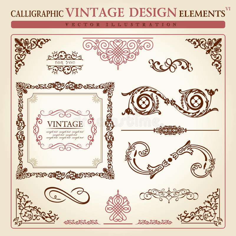 Calligraphic elements vintage Vector frame