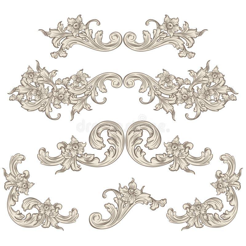 calligraphic elementset royaltyfri illustrationer