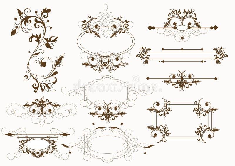 calligraphic elementvektortappning royaltyfri illustrationer