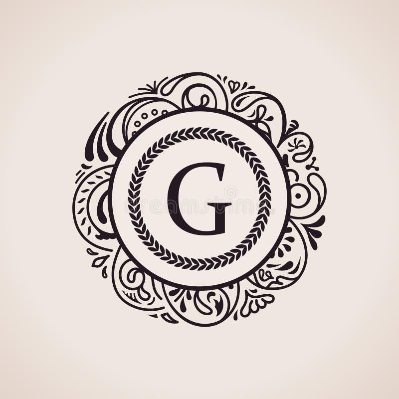 Calligraphic floral baroque monogram. Emblem letter G royalty free illustration