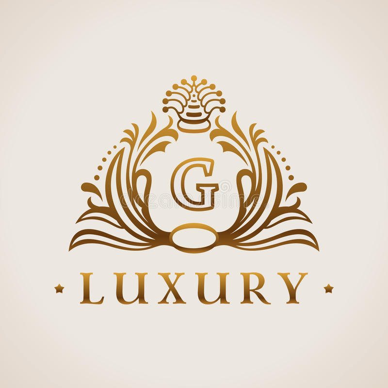 Calligraphic flourishes Luxury Logo template elegant ornament. Business sign, monogram, emblem for Hotel, restaurant, Royalty boutique cafe, heraldic, Jewelry stock illustration
