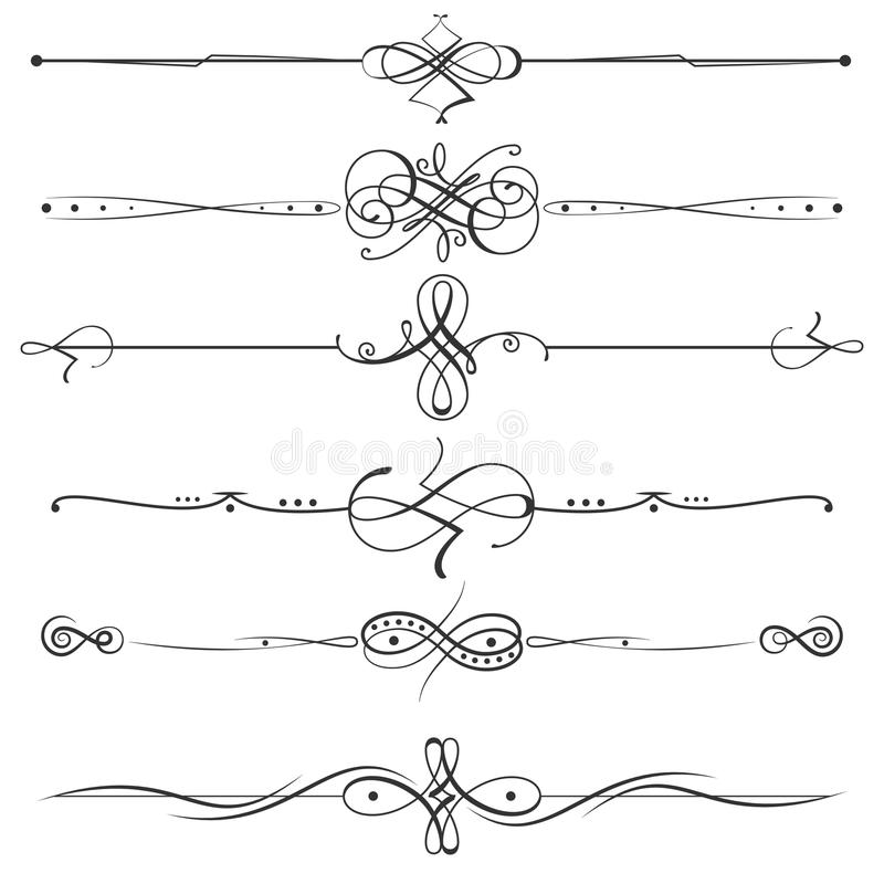 Calligraphic flourishes page dividers decoration illustration. Calligraphic flourishes page dividers. Vector page decoration calligraphic elements royalty free illustration