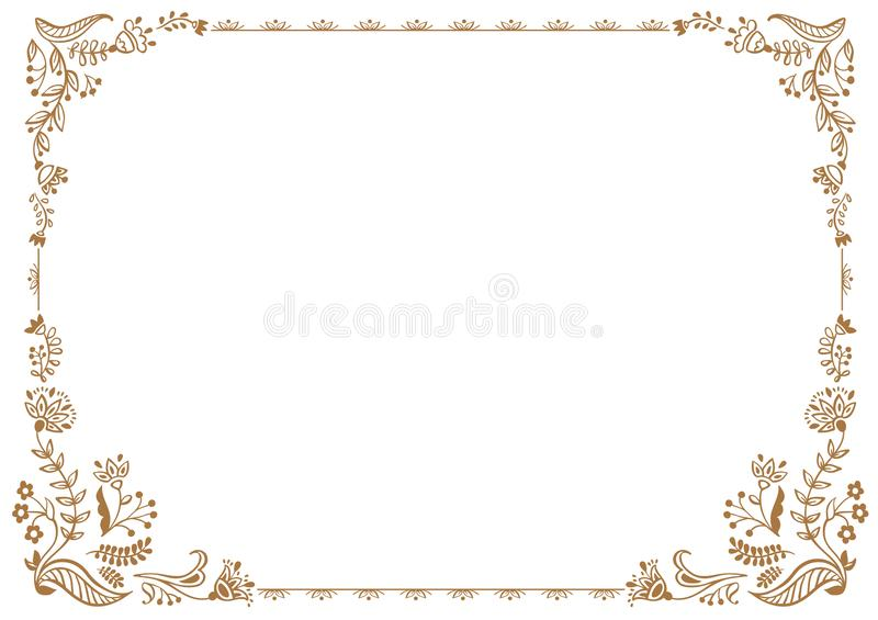Calligraphic frame and page decoration. Vector illustration. Vector of decorative horizontal element, border and frame vector illustration