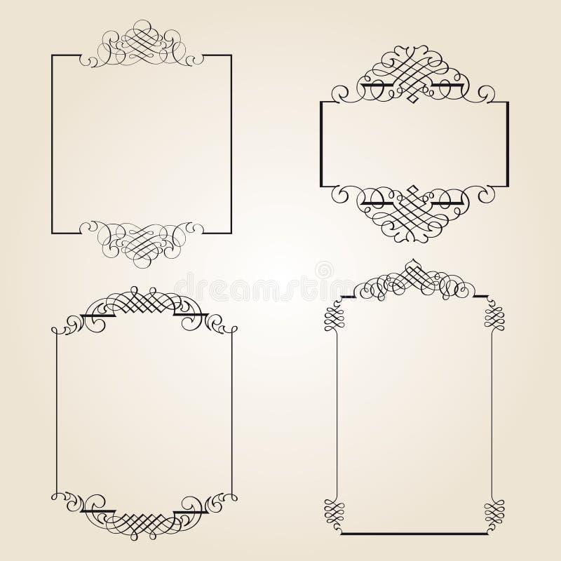 calligraphic garneringelementsida stock illustrationer