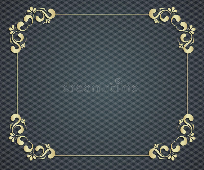 Calligraphic golden frame. Abstract background with exclusive, antique, luxury vintage, gold frame, creative vector illustration