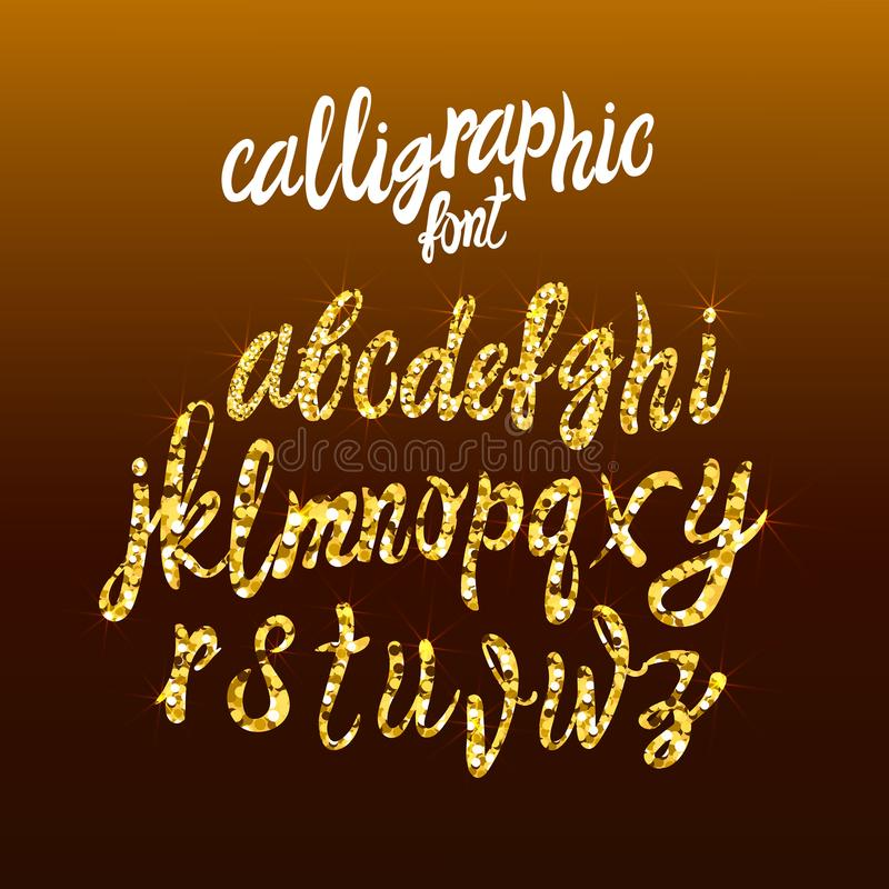 Calligraphic Golden Handwriting Font, VECTOR Gold Dust Letters Template, Shine Texture. stock illustration
