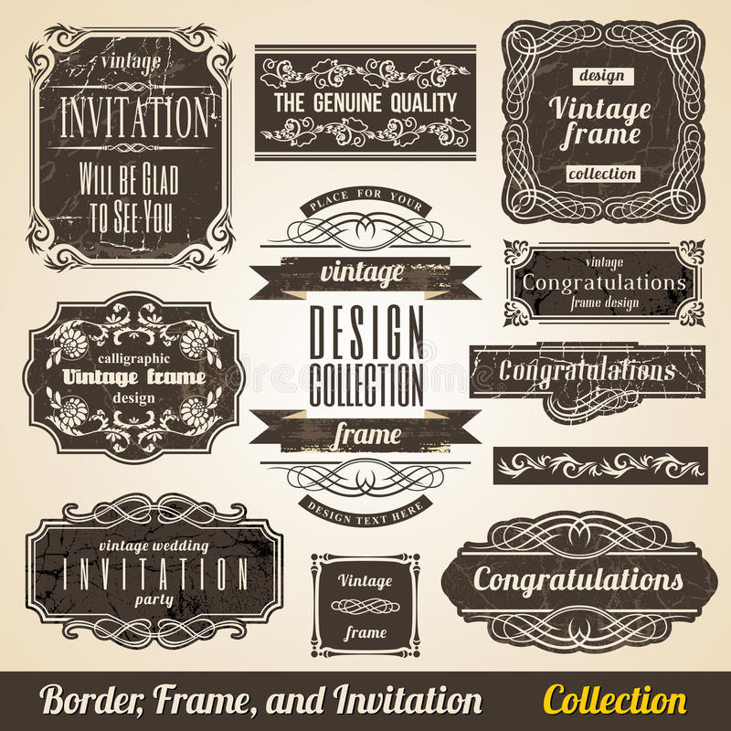 Calligraphic gränsa inramar och inbjudan royaltyfri illustrationer