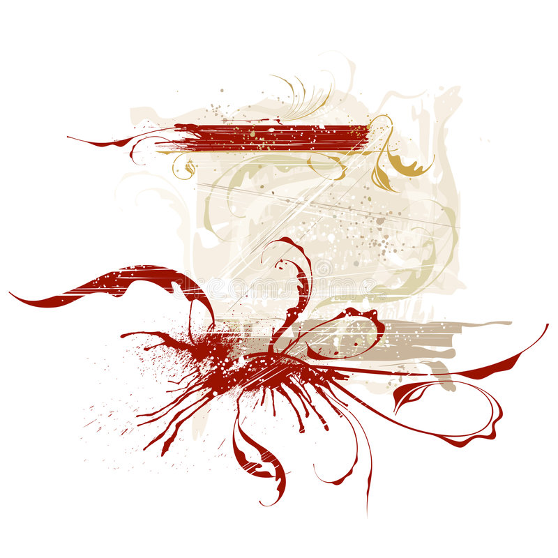calligraphic grungetappning stock illustrationer