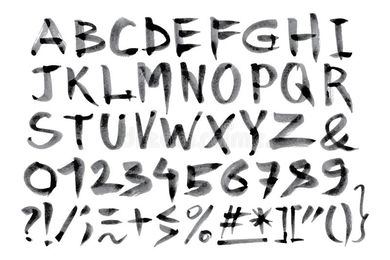 Download Calligraphic Hand Drawn Font Handwritten Alphabet In Brush Style Modern Script Vector