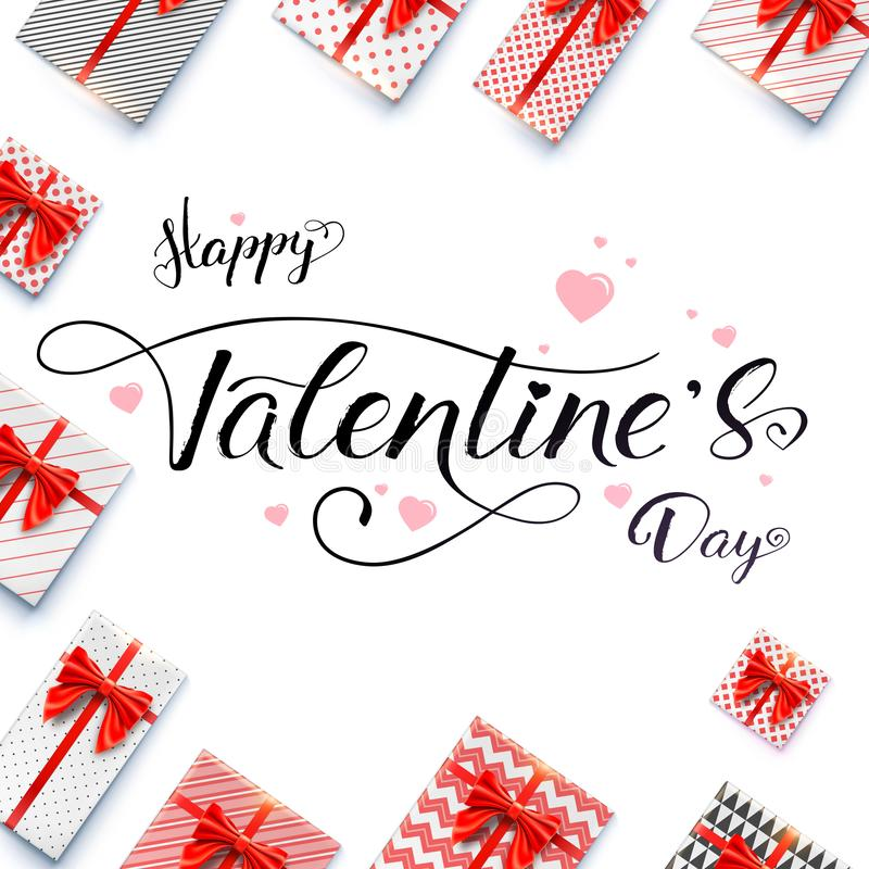 Calligraphic handwritten lettering. Happy Valentines day. Vector concept of banner for St. Valentine holidays isolated royalty free illustration