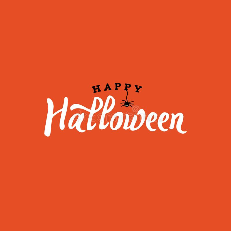 Happy Halloween Typography with Spider Over Orange and Black, Vector Illustration royalty free illustration