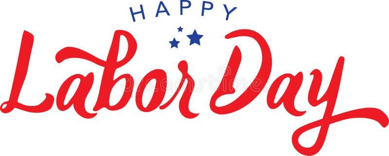 Calligraphic Happy Labor Day Vector Typography. Calligraphic Happy Labor Day Red Vector Typography stock illustration