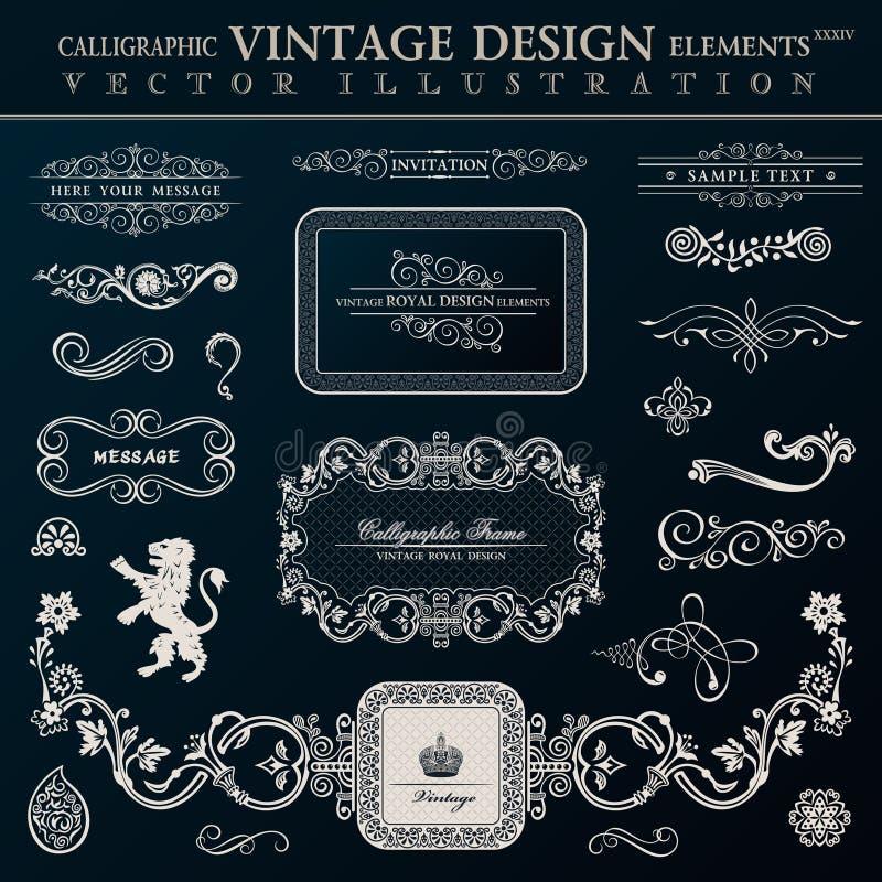 Calligraphic heraldiska dekorbeståndsdelar Vektortappningramar royaltyfri illustrationer