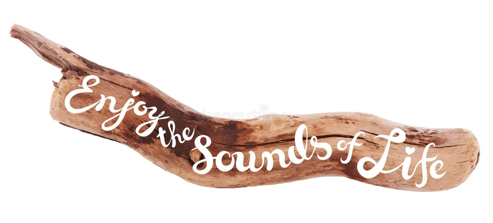 Calligraphic inscription on drifted wood royalty free illustration