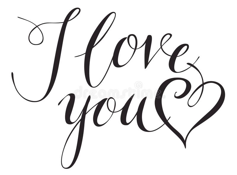 Calligraphic inscription I Love You with heart royalty free illustration