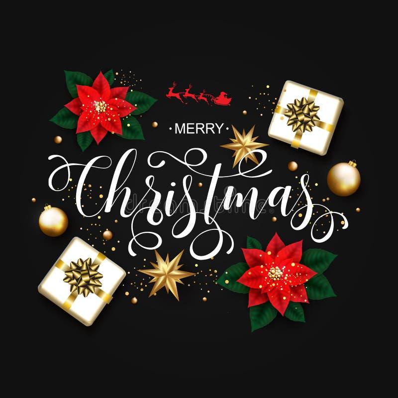 Calligraphic inskrift för glad jul som dekoreras med Poinsett vektor illustrationer