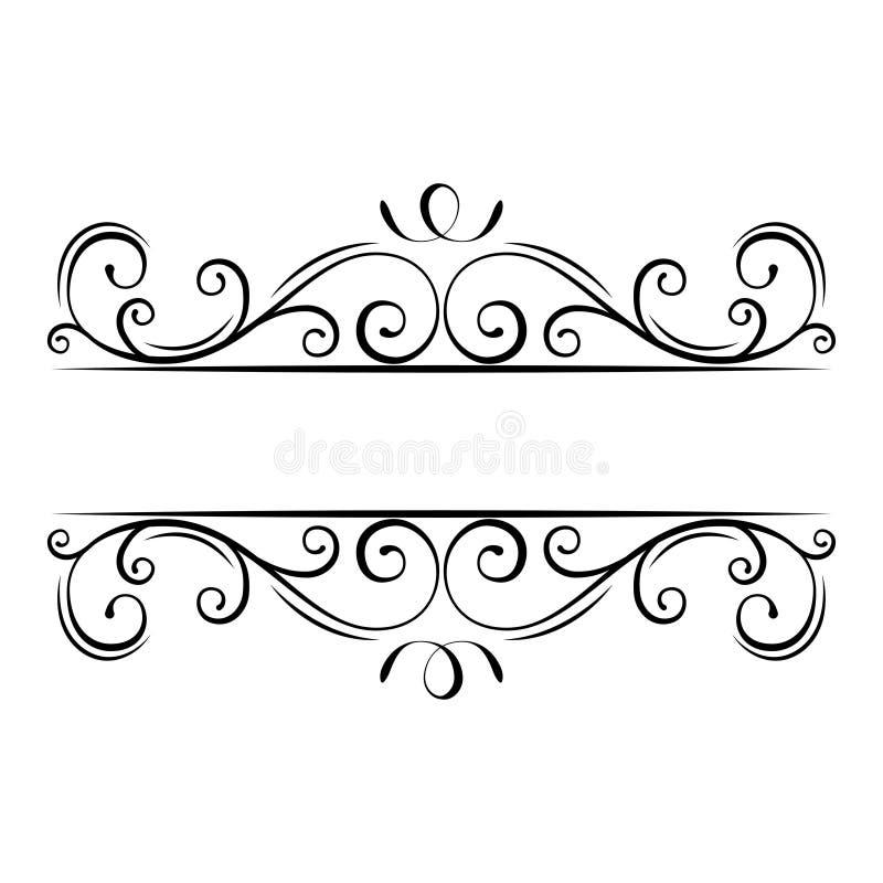 Calligraphic krusidullram dekorativt utsmyckat för kant Virvlar krullning, beståndsdelar för snirkelfiligrandesign vektor vektor illustrationer