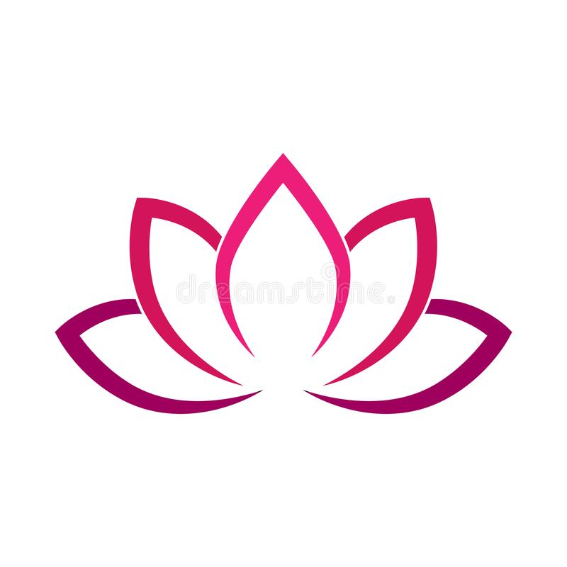 Calligraphic lotus blossom in pink-violet colors. Yoga symbol. Simple flat vector illustration vector illustration