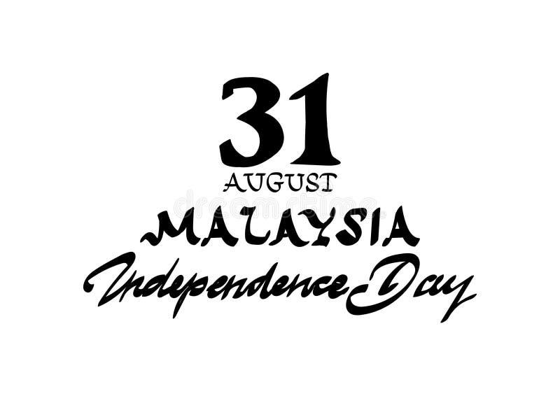 Calligraphic Malaysia Independence Day, Der Feiertag vom 31. August Gestaltung von Plakaten, Grußkarten, Broschüren, Flye stock abbildung