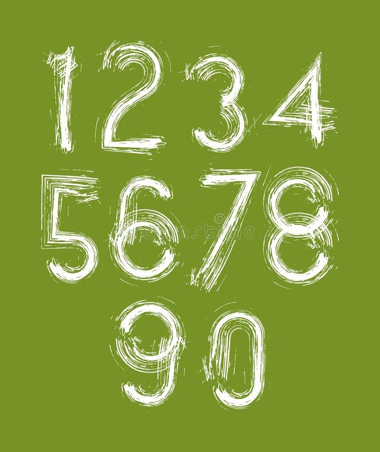 Calligraphic nummer som dras med färgpulver, borstar, vita vektornummer vektor illustrationer