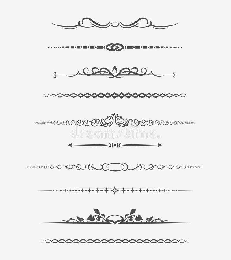 Calligraphic page dividers. Retro decoration, book ornament, chapter and arrow. Vector illustration stock illustration