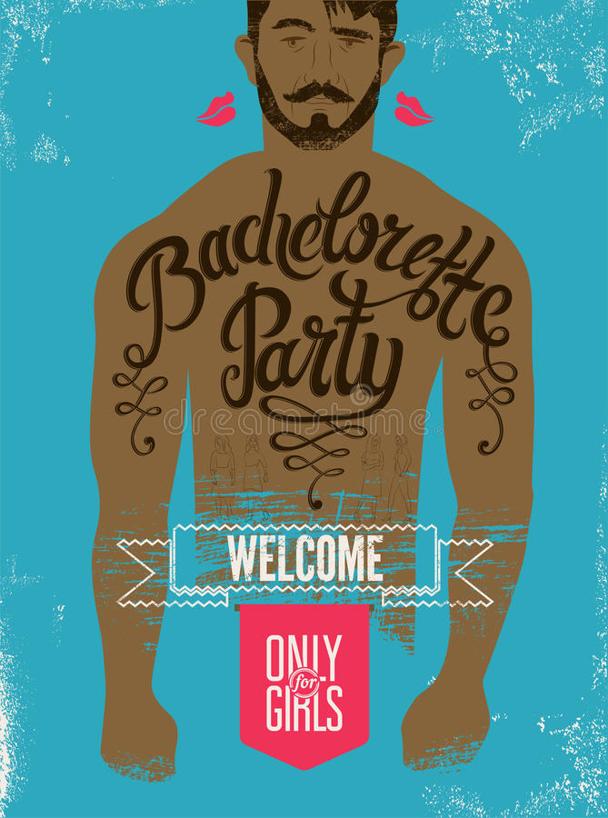 Calligraphic poster for bachelorette party with a tattoo on a man's body. Vector illustration. stock illustration