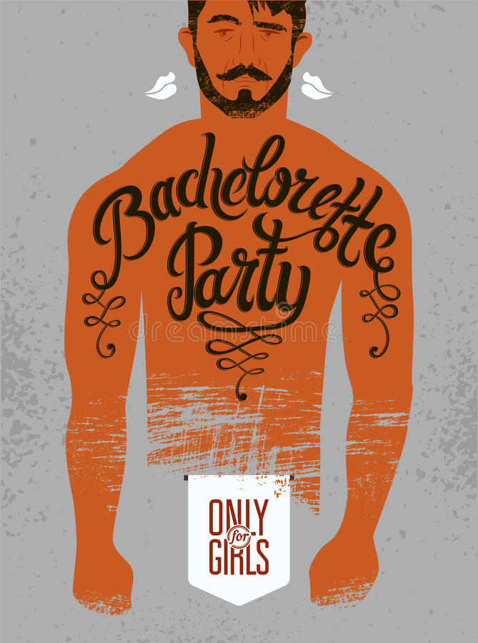 Calligraphic poster for bachelorette party with a tattoo on a man's body. Vector illustration. royalty free illustration