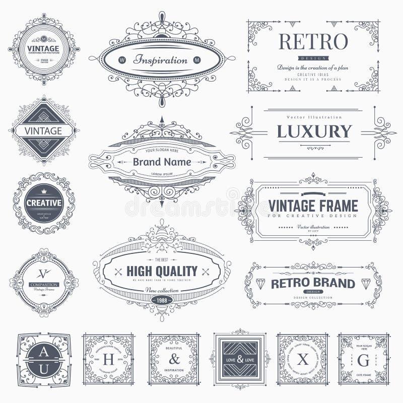 Calligraphic prydnader och ramar vektor illustrationer