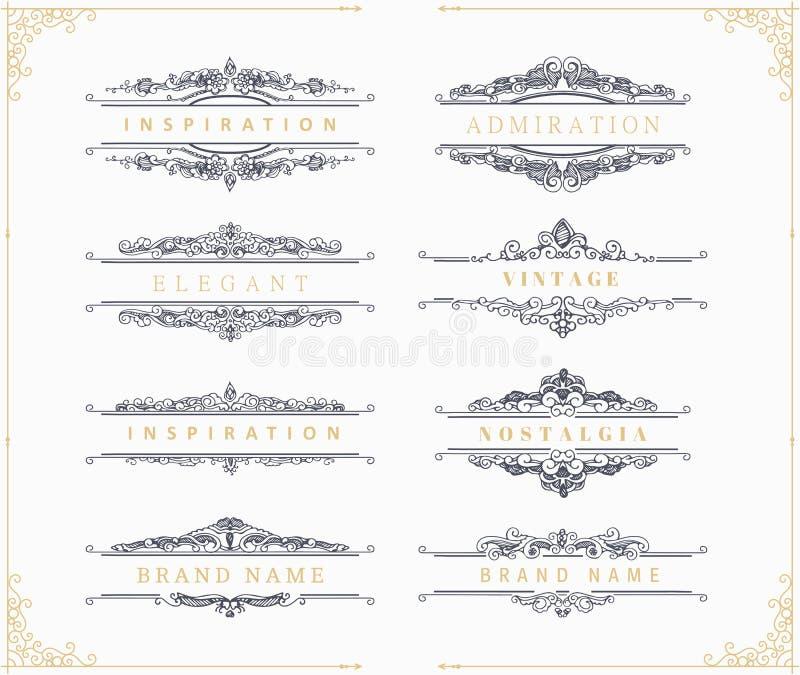 Calligraphic prydnader och ramar för tappning vektor illustrationer