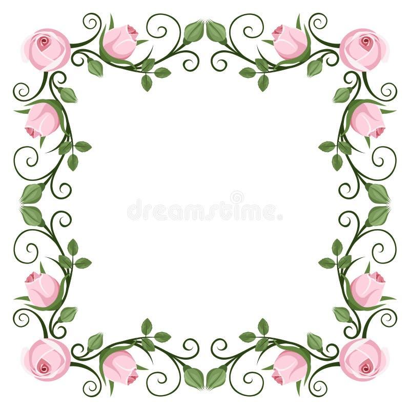 Calligraphic ram för tappning med rosa rosor vektor stock illustrationer