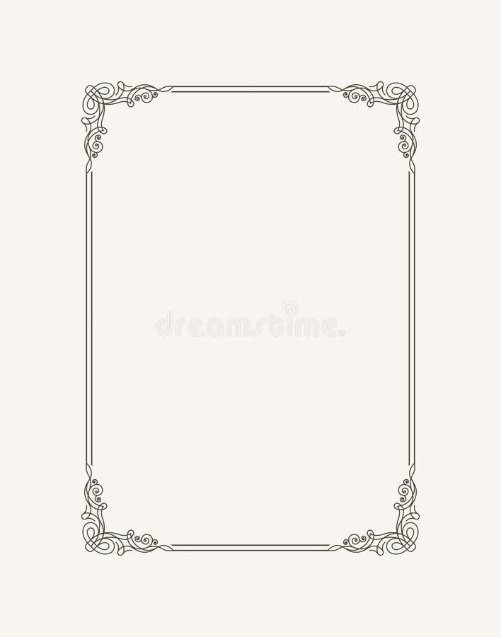 Calligraphic ram för tappning Svartvit vektorgräns av inbjudan, diplom, certifikat, vykort royaltyfri illustrationer