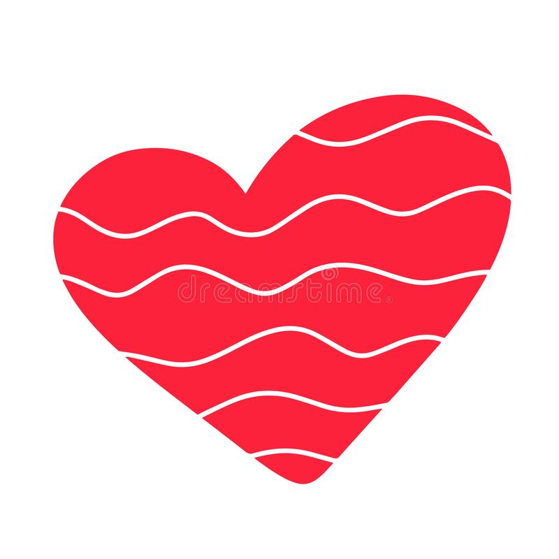 Calligraphic red love heart sign wave. Hand drawn calligraphy design flat element Valentines day. Template for t shirt, card stock illustration