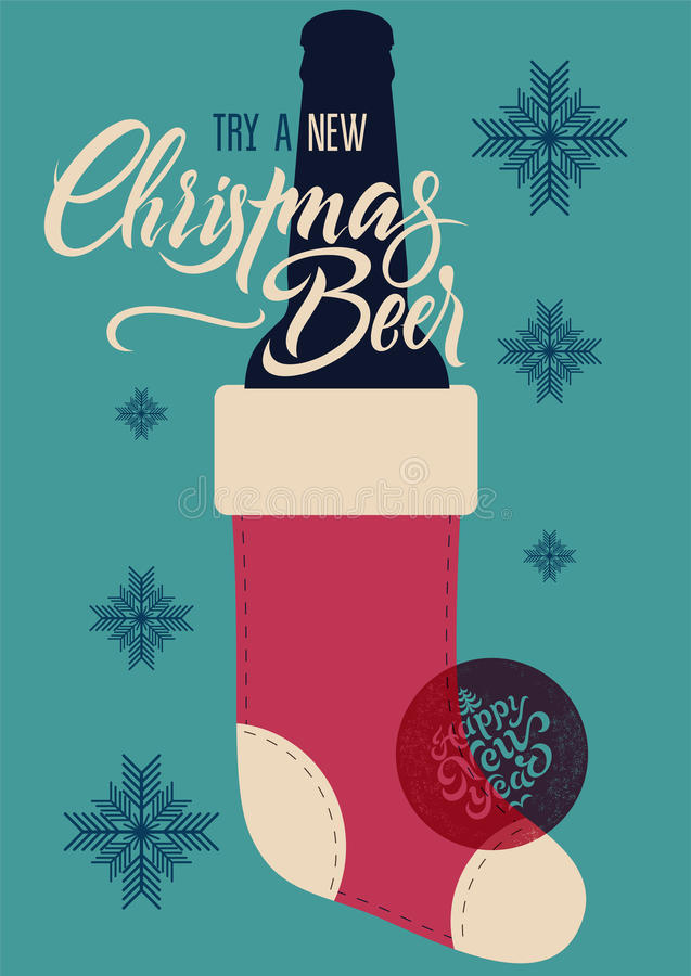 Calligraphic retro Christmas Beer poster. Vintage vector illustration. royalty free illustration