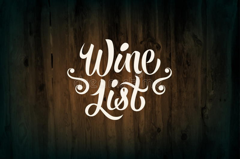 Calligraphic retro style wine list design on wood background. Vector illustration. Eps 10. Calligraphic retro style wine list design on wood background. Vector royalty free illustration