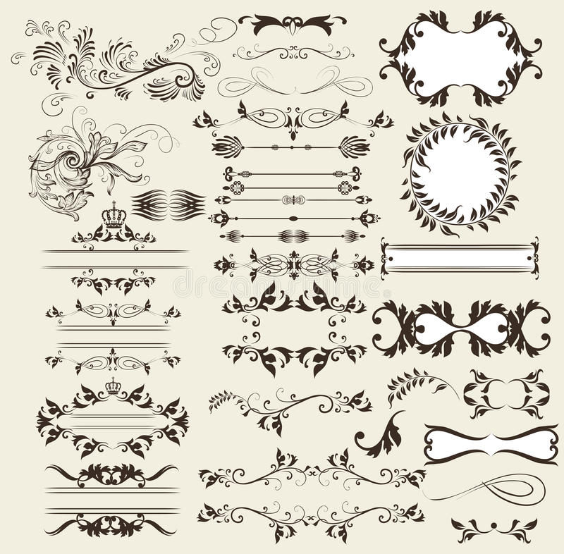 Calligraphic retro vector elements and page decorations stock illustration