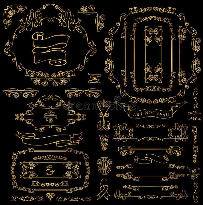 Calligraphic Royal Decor Elements.Gold Frames,borders,ribbons stock illustration